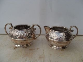 Antique Silver Plate Sugar Bowl And Milk Jug Creamer Civic photo