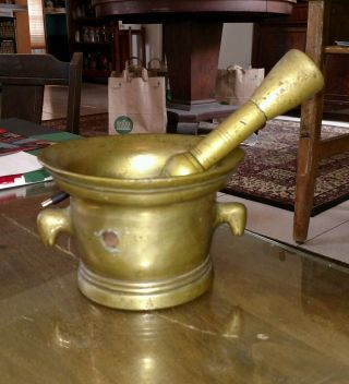 Antique 17th Century Scottish Brass Mortar And Pestle Heavy Large photo