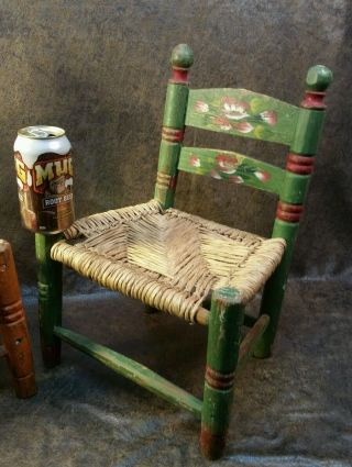 2 Primitive Antique Wood Chairs Rosemaling Norwegian Hpainted Wicker Small Child photo