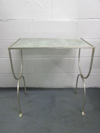 French Silver Gild Side Table Hollywood Regency Mid Century Modern photo
