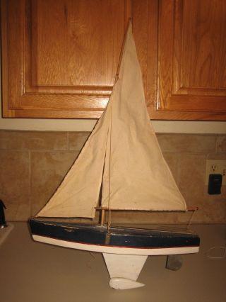1940s/50s Handmade Wood Pond Yacht Sailboat - 18.  5