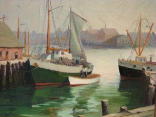 Signed Antique Gloucester Harbor Ships Dock Impressionist Oil Painting Noyes Era photo