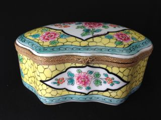 Vintage French Hand Painted Bfs Artist Signed Brommel Dome Top Boudoir Box photo