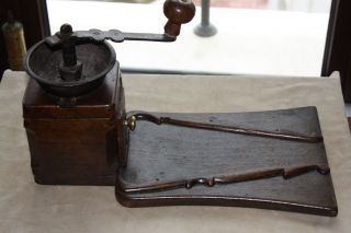 Antique Mid 19thc Ottoman Turkish Wooden Coffee Grinder W/ Table photo
