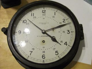 Chelsea U.  S Navy Ships Clock 10 1/2 Inch Circa 1975 - 1979 12/24 Hour Dial photo