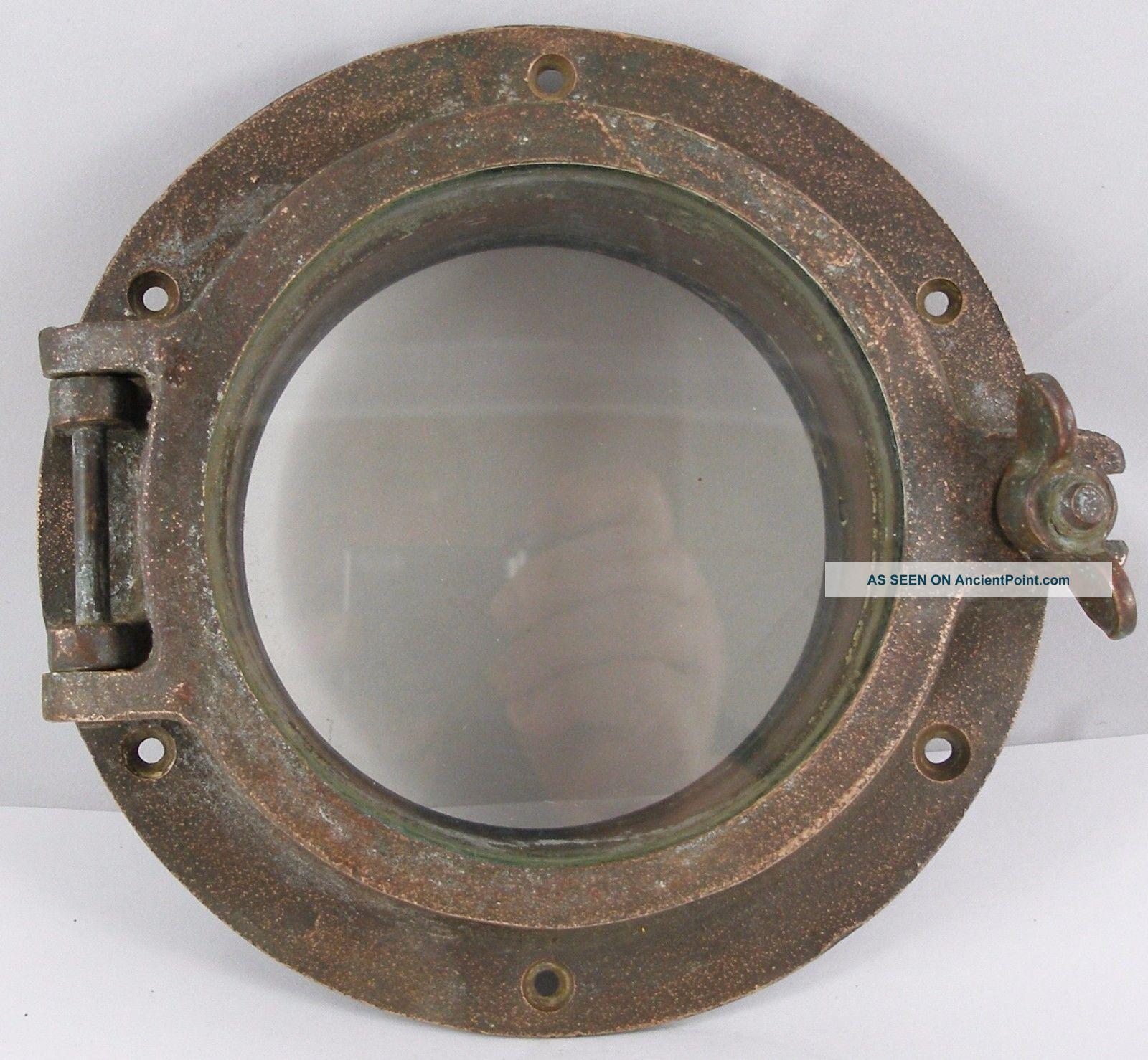 Antique Bronze Porthole,  Salvaged Elco Porthole Nautical 8