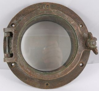 Antique Bronze Porthole,  Salvaged Elco Porthole Nautical 8