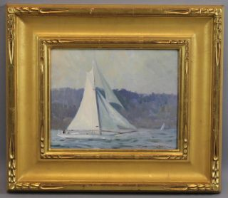 Authentic Maine Coastal Sailboat,  Don Stone,  O/c Oil Painting Carved Gilt Frame photo