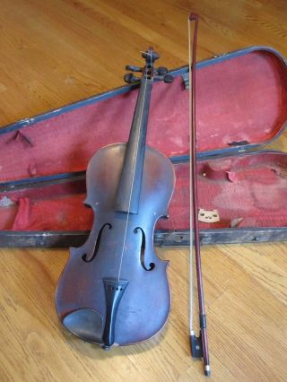 Antique Violin W/label 4/4,  Bausch Bow,  Bridge Tourte,  & Gsb Wooden Coffin Case photo