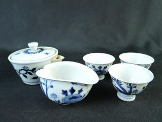 B8912: Japanese Kiyomizu - Ware Sencha Teapot Yusamashi Cups,  Takano Shouami Made photo