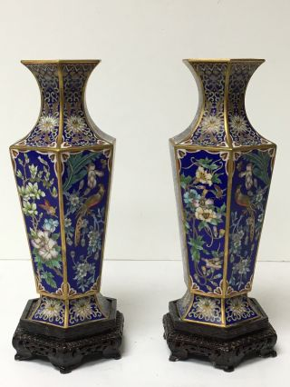 Chinese High Cloisonné Enamel Vases On Blue Ground photo