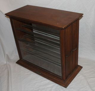 Antique Oak Ribbon Cabinet Country General Store Display Cabinet photo