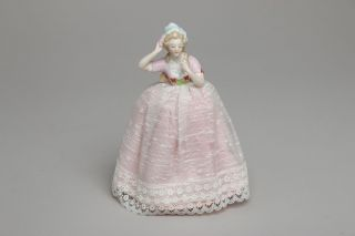 Vintage Porcelain Half Doll Pin Cushion,  Lady W/ Arms Away,  Pink Dress,  Germany photo