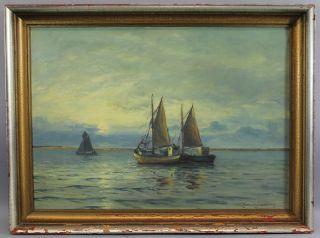 Vintage Orig Lauritz Sorensen Danish Fishing Boat Seascape Oil Painting Nr photo