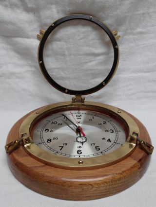 Vintage Rare Bey - Berk Brass Porthole Nautical Ship Wall Clock With Wood Base photo