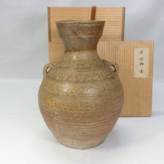 E953: Real Old Chinese Pottery Ware Vase Of Ash Glaze. photo