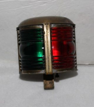 Antique Boat Bow Light Solid Brass Red & Green Glass All Orig Just A Gem photo
