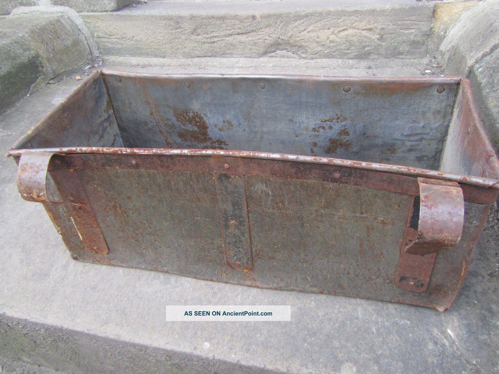Large Antique Metal Trough Tub Planter Box Brass Plaque Industrial ...