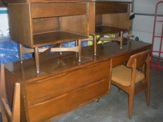 2nd Pair Danish Modern Walnut Nightstands Heywood Wakefield photo