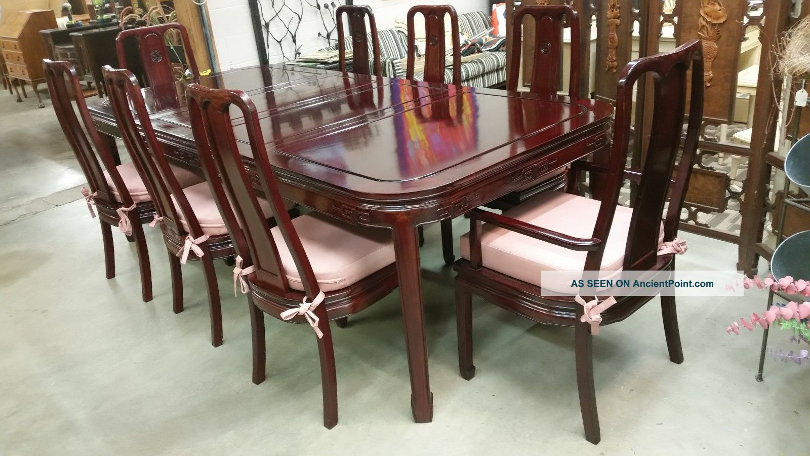 Mid - Century Carved Chinese Mahogany Dining Table 8 Chairs 2 Arm 6 Side Cushions 1900-1950 photo