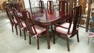 Mid - Century Carved Chinese Mahogany Dining Table 8 Chairs 2 Arm 6 Side Cushions photo