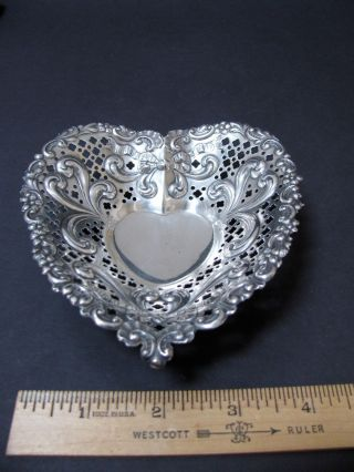 Gorham Sterling Silver Filigree Heart Candy Nut Trinket Dish 966 photo