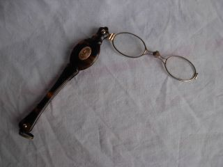 Antique French Solid Silver Faux Turtoise Shell Folding Lorgnette,  Late 19th. photo