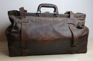 Vintage Shark Skin Leather Gladstone Satchel Travel Doctor Bag 1940 ' S Or Earlier photo