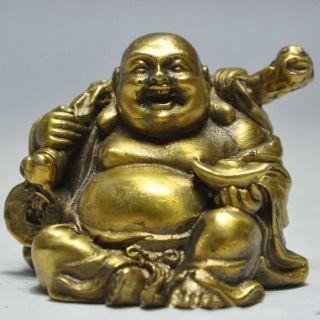 Chinese Buddhism Bronze Brass Happy Laugh Maitreya Buddha Yuanbao Money Statue photo