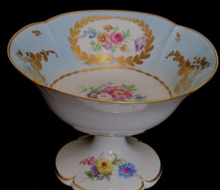 Limoges France Pedestaled Compote Hp Floral Gold Dish 7 3/4