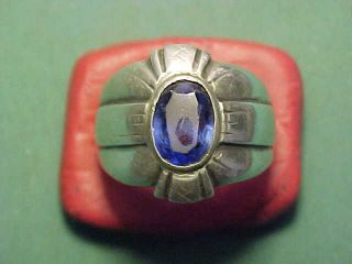 Near Eastern Hand Crafted Silver Ring With Faceted Blue Stone photo