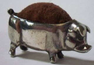 Antique English Ca 1900 Pig Pin Cushion Solid Sterling photo