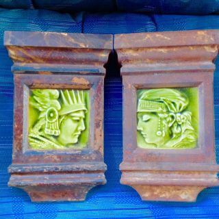 Pair Antique Cast Iron Mantle Keystone Green Majolica Trent Potrait Tiles photo