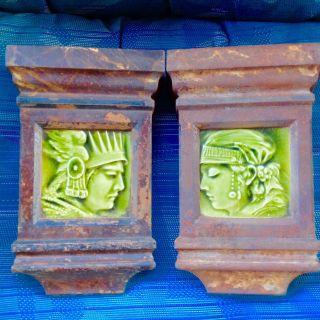 Pair Antique Cast Iron Mantle Keystone Green Majolica Trent Potrait Tiles photo
