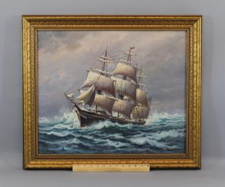 Vintage William Paskell Maritime Seascape Clipper Ship O/c Oil Painting,  Nr photo