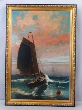 Antique Art Deco Era Seascape Fishing Boat Sailboat Nautical Maritime Painting photo
