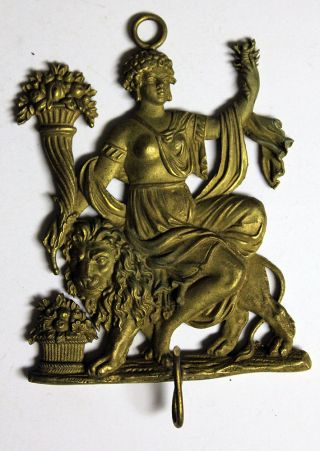Queen Sitting On Lion French Antique Architectural Wall Hook Gilt Bronze Brass photo