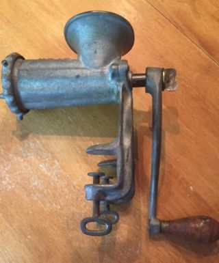 Antique Cast Iron Enterprise Tinned Meat Chopper Grinder 10 Dual Vice 1879 Pat photo