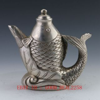 Collectible Decorated Old Handwork Tibet Silver Carved Big Fish Tea Pot photo