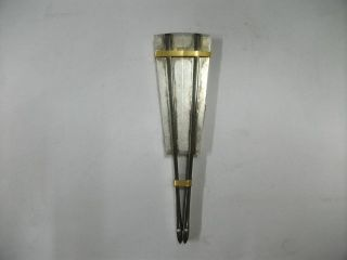 Pure Silver Toothpick Case Of A Fan - Type.  42g/ 1.  48oz.  Japanese Antique. photo