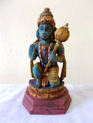 Religious Hindu God Hanuman Antique Wooden 9.  5