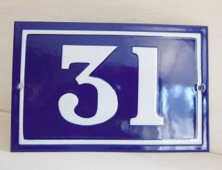 Old French House Number Sign Door Gate Plate Plaque Enamel Steel Metal 31 Blue photo