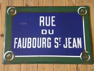 Vintage French Enamel Street Sign Rue Du Faubourg St Jean Green Edge photo