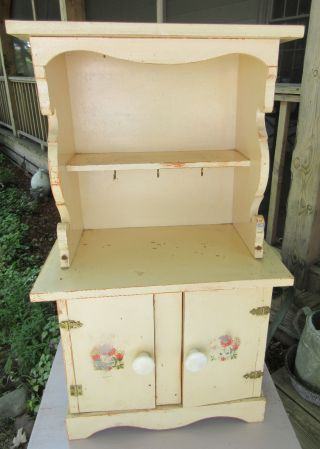 Vintage 1940 ' S Child Toy Doll Wood Hutch Cupboard Old Paint & Decals 14