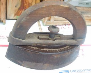 Art Deco Door Stop: Antique Clothes Sad Iron Wood Handle Colebrookdale Iron photo