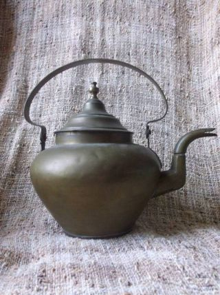 Antique Copper Bottomed,  Copper Alloy Metal Goose - Neck Tea Pot photo