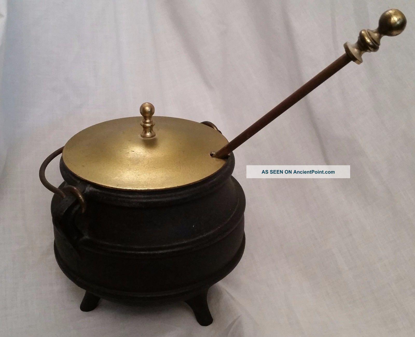 Vintage Cast Iron Pot Cauldron Kettle W Brass Lid Fire Starter Pumice Wand Hearth Ware photo
