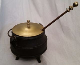 Vintage Cast Iron Pot Cauldron Kettle W Brass Lid Fire Starter Pumice Wand photo