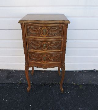 Tall Narrow French Carved Nightstand / End Table / Side Table 7543 photo