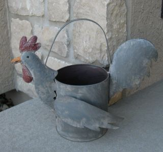 Big Metal Rooster Watering Can/flower Pot Primitive/french Country Chicken Decor photo